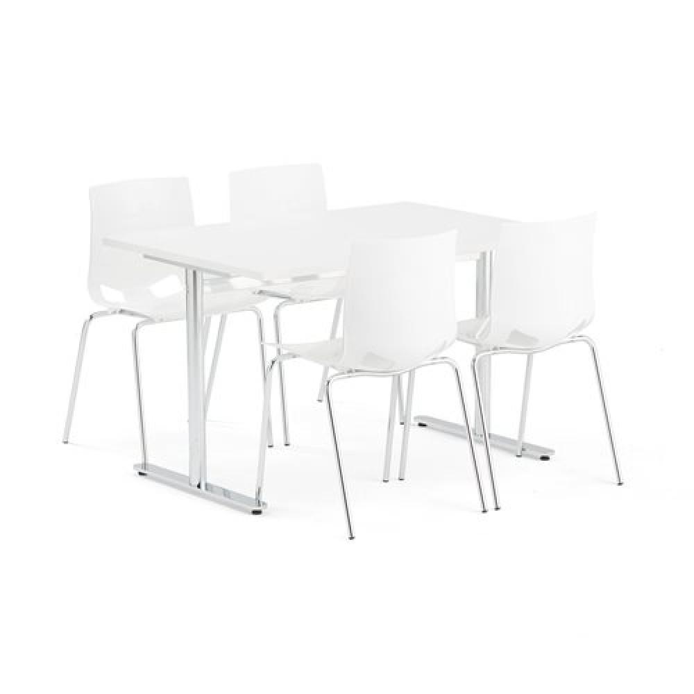Set masa 1200x800 mm + 4 scaune plastic, culoare alba