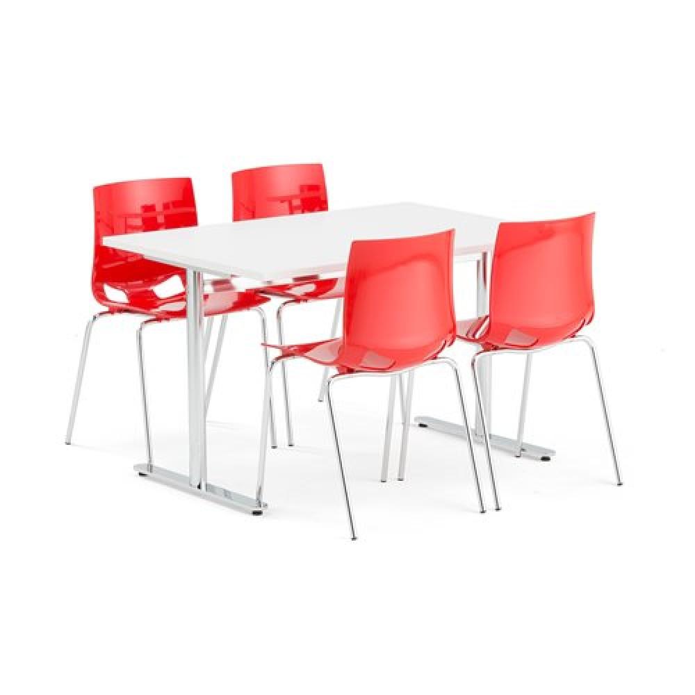Set masa 1200x800 mm + 4 scaune plastic, culoare rosu