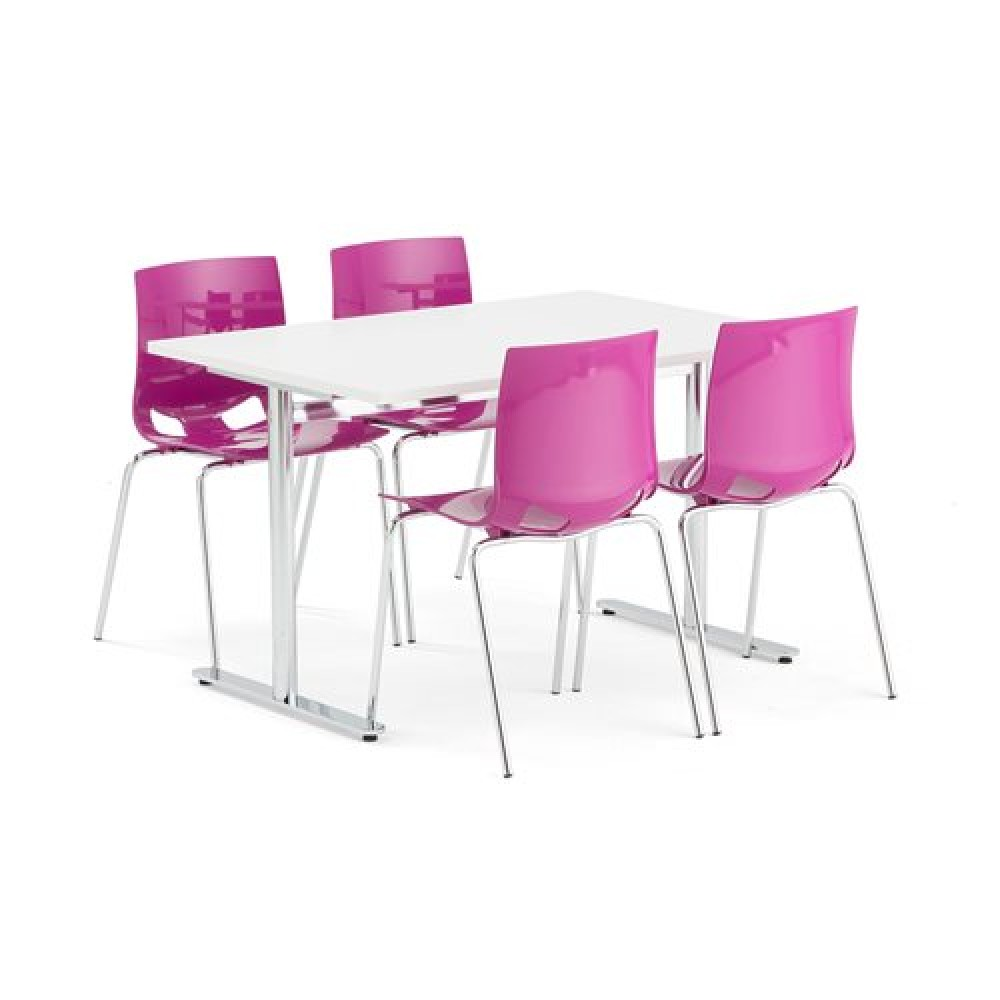 Set masa 1200x800 mm + 4 scaune plastic, culoare violet