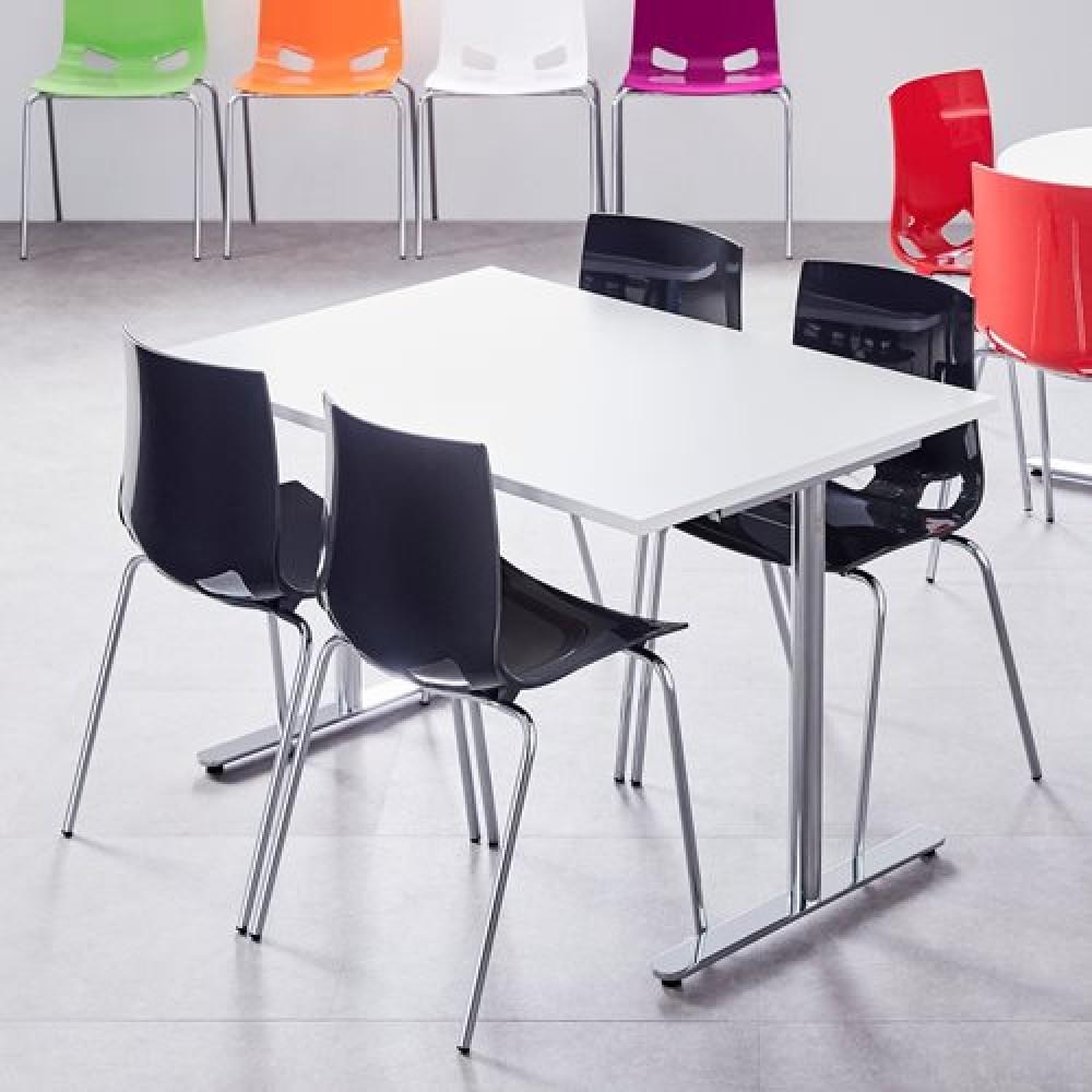 Set masa 1200x800 mm + 4 scaune plastic, culoare neagra
