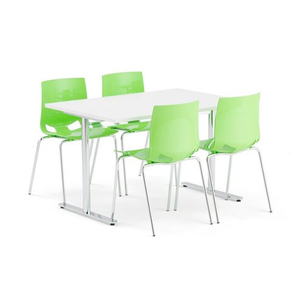 Set masa 1200x800 mm + 4 scaune plastic, culoare verde