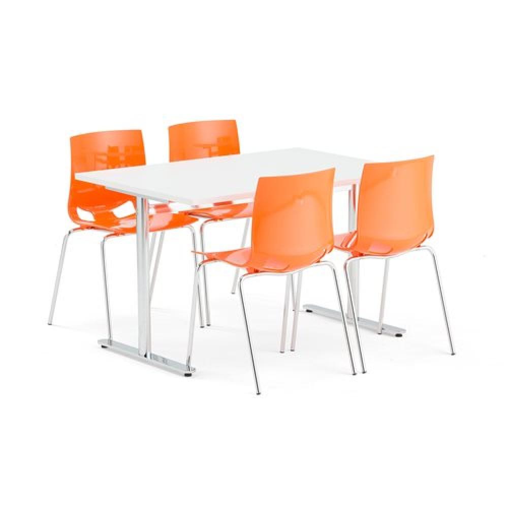 Set masa 1200x800 mm + 4 scaune plastic, culoare portocaliu