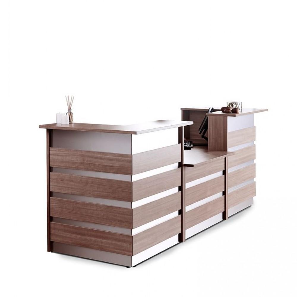 Birou receptie in forma de U, L 3000 x l 1000 x H 1150 mm, stejar-aluminiu