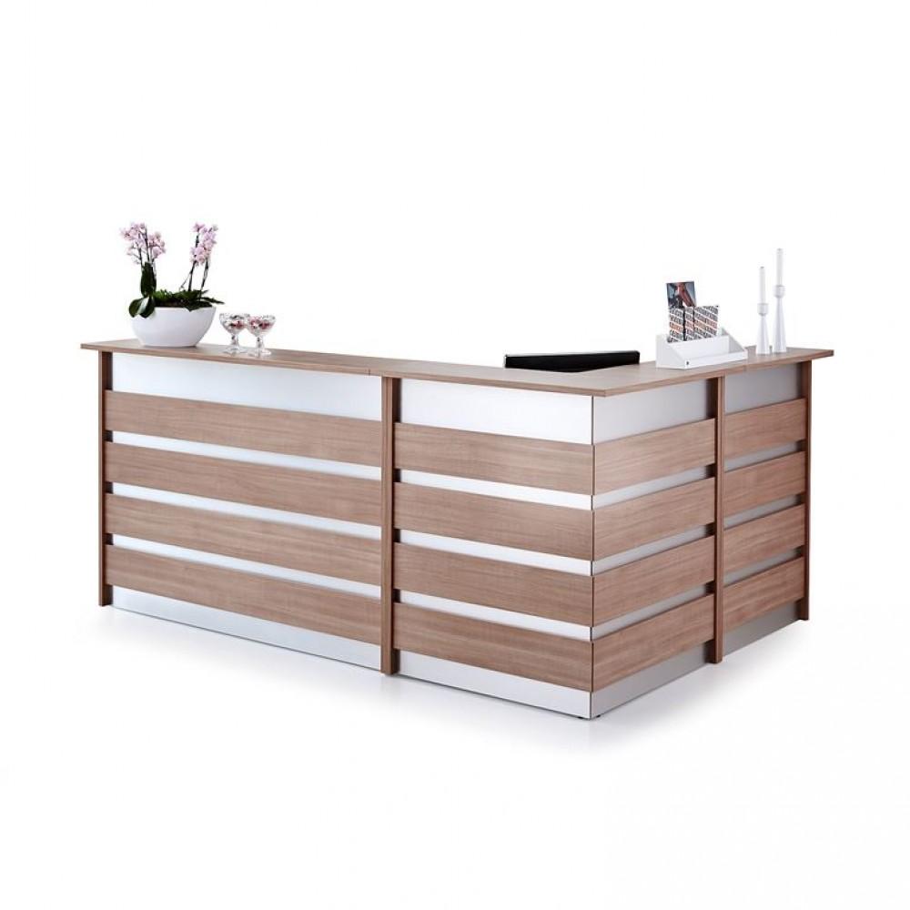 Birou receptie in forma de L, L 2600 x l 1800 x H 1150 mm, stejar-aluminiu