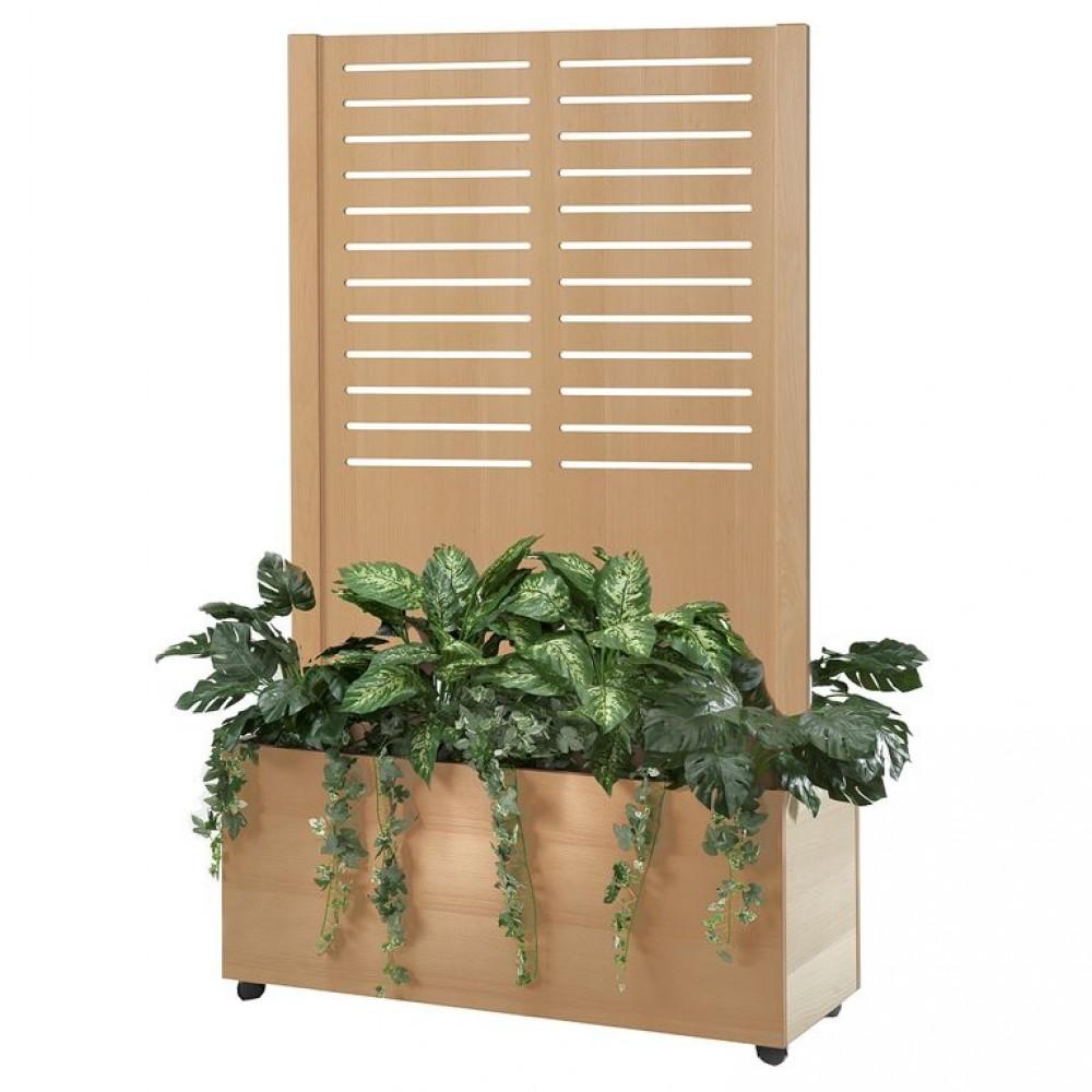 Paravan despartitor cu ghivece cu plante artificiale cu perforatii longitudinale l 940 x A 400 x H 1720 mm, fag