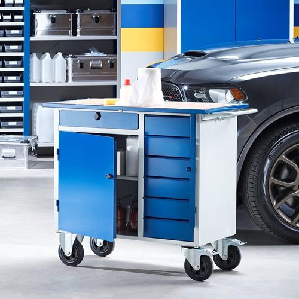 Carucior de lucru flexibil cu rotile, dulap + 7 sertare, 990x595x900 mm