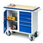 Carucior de lucru flexibil cu rotile, dulap + 5 sertare, 1100x595x900 mm