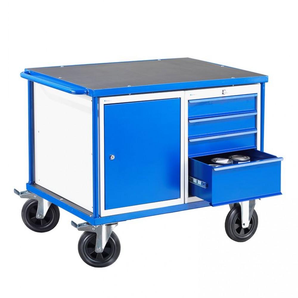 Carucior de scule cu două dulapuri, H 875 x l 1000 x A 700 mm, capacitate incarcare 300 kg