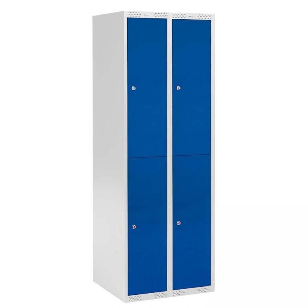 Dulap metalic vestiar 2 sectiuni, cu 4 usi albastre