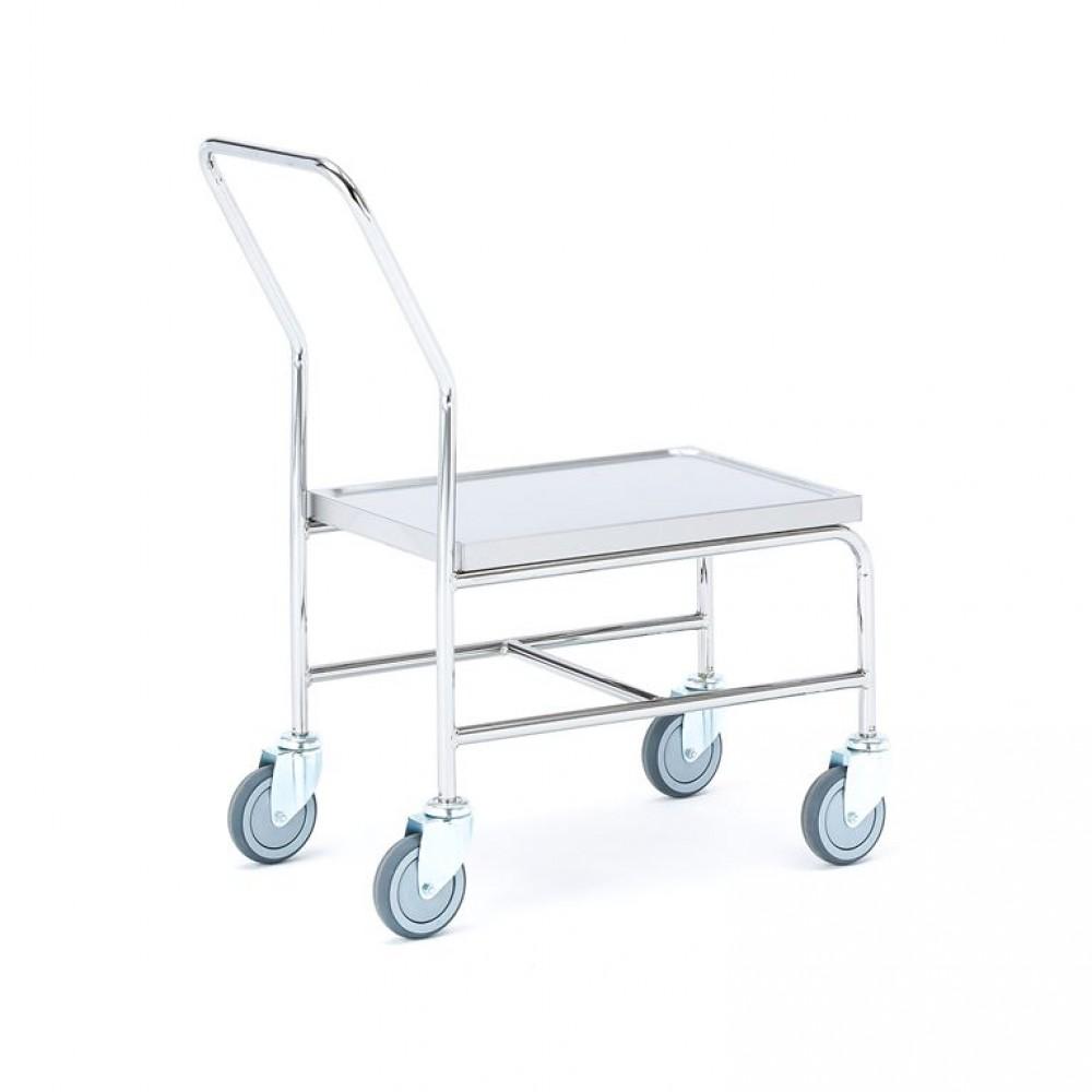 Carucior tip platformă  din inox, H 550 x l 600  x L 400 mm, capacitate de încărcare 150 kg