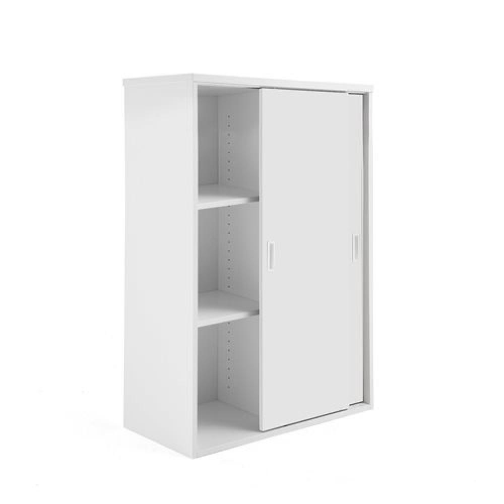Dulap de birou modular cu uși glisante, 1200x800 mm, alb