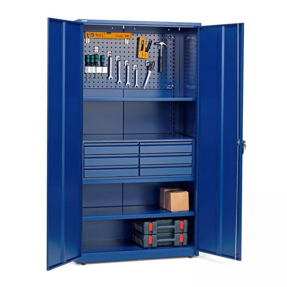 Dulap de depozitare cu panouri si rafturi pentru scule, sertare metalice