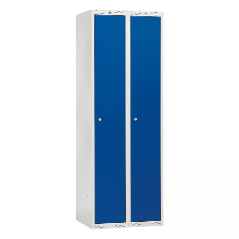 Dulap vestiar, 2 secțiuni, 600x550x1740 mm, usa albastru metalizat