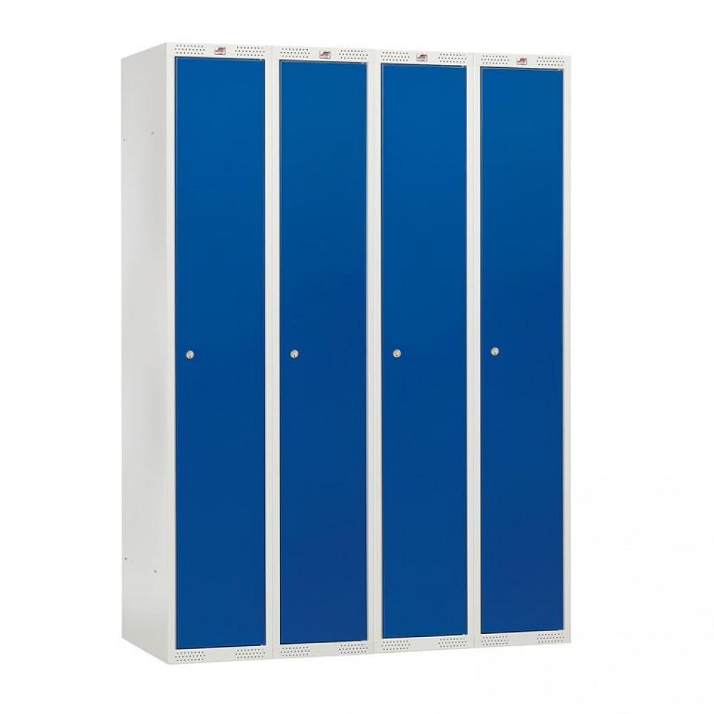 Dulap vestiar, 4 secțiuni, 4 usi, 1200x550x1740 mm, usi albastre