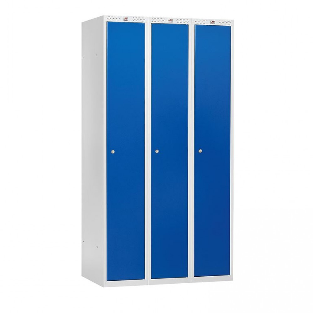 Dulap vestiar, 3 secțiuni, 900x550x1740 mm, usa albastru metalizat