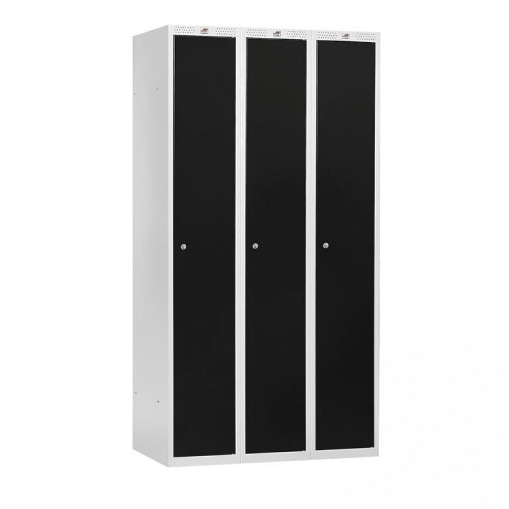 Dulap vestiar, 3 secțiuni, 900x550x1740 mm, usi negre