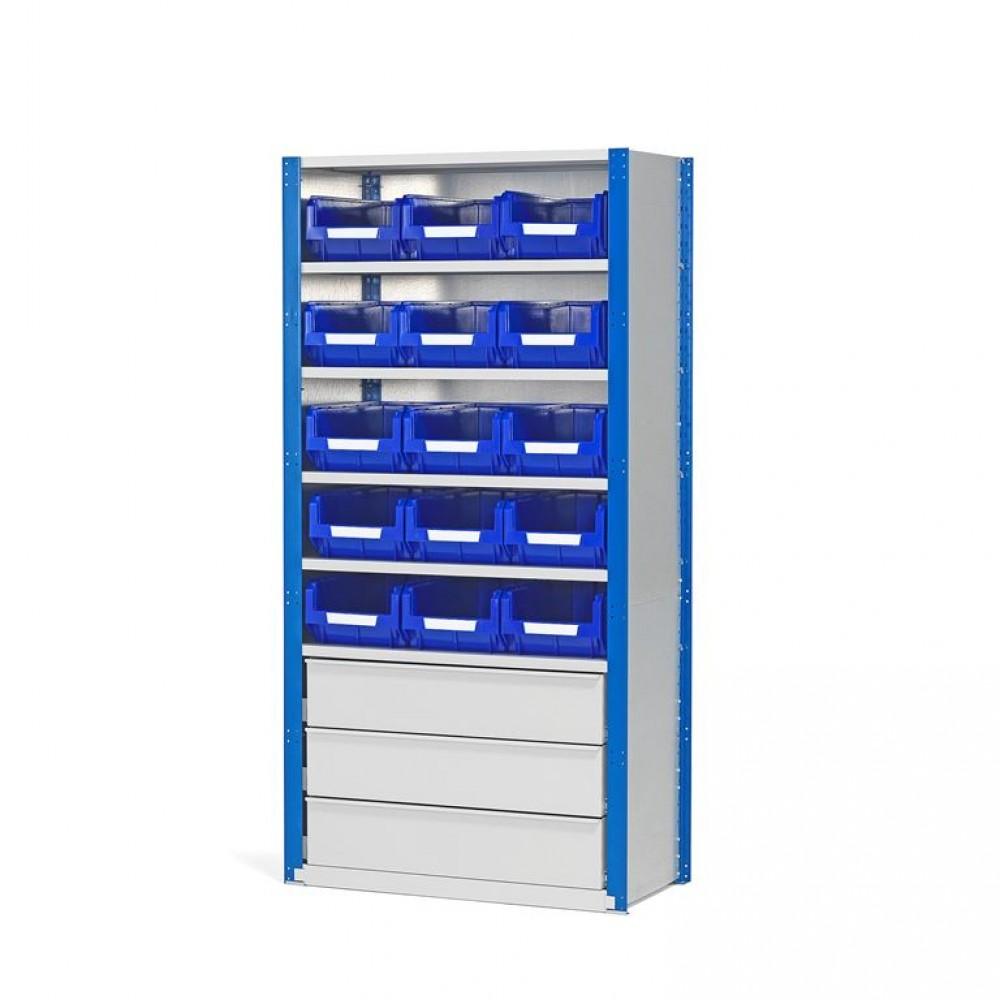 Stand mixt cu sertare și 15 cutii, 2100x1000x500 mm