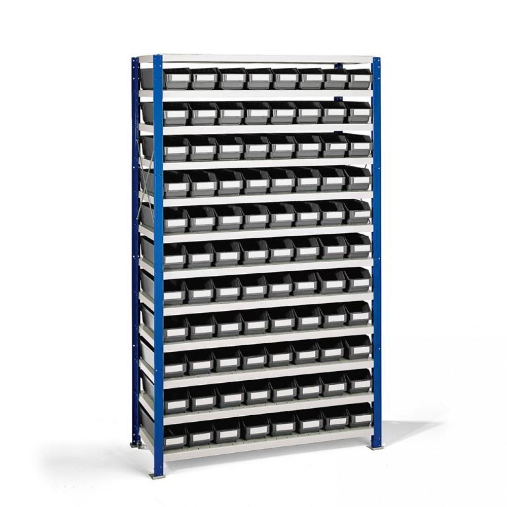 Stand rafturi cu 88 de cutii de plastic, 1740x1000x300 mm, cutii gri