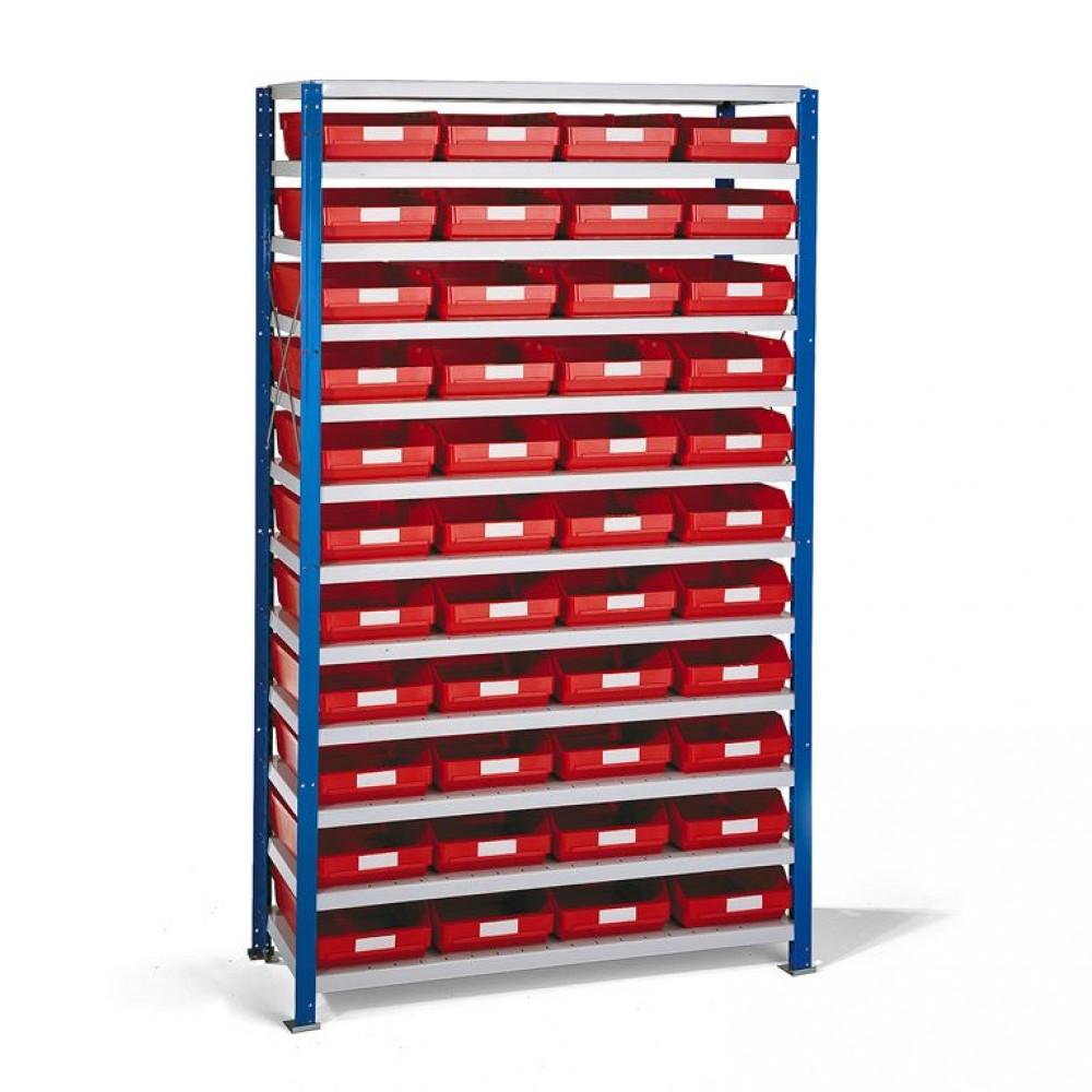 Stand rafturi cu 44 de cutii de plastic, 1740x1000x500 mm, cutii rosii