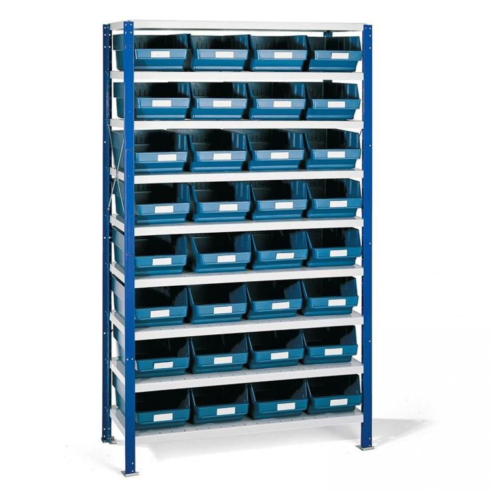 Stand cu 32 de containere albastre pentru depozitare, 1740x1000x400 mm