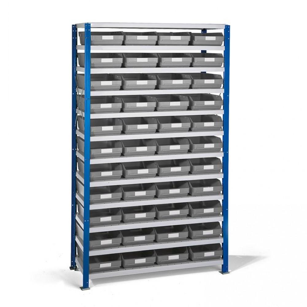 Stand rafturi cu 44 de cutii de plastic, 1740x1000x300 mm, cutii gri