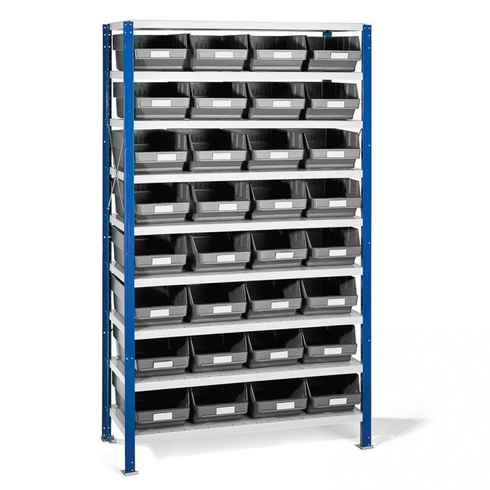 Stand cu 32 de containere gri pentru depozitare, 1740x1000x400 mm