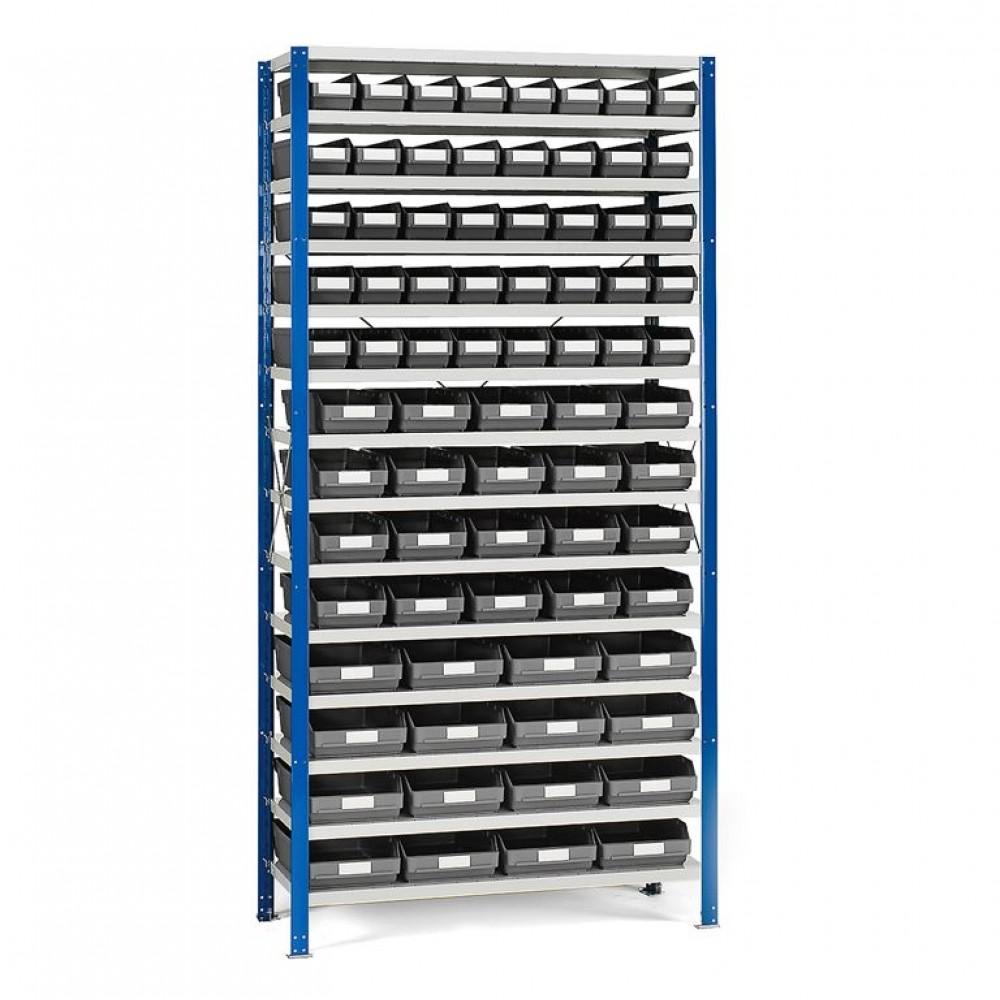 Stand rafturi cu 76 de cutii de plastic, 1740x1000x300 mm, cutii gri