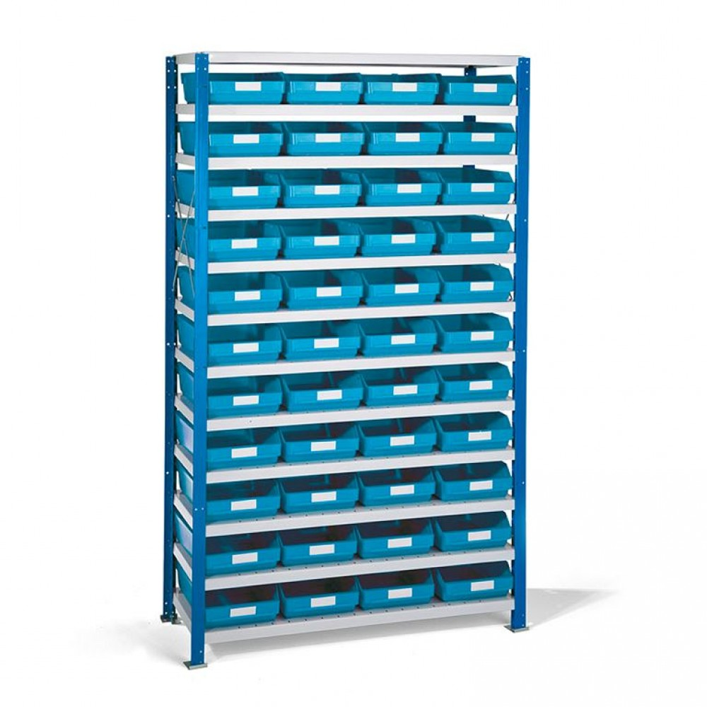 Stand rafturi cu 44 de cutii de plastic, 1740x1000x500 mm, cutii albastre