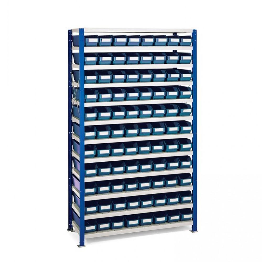 Stand rafturi cu 88 de cutii de plastic, 1740x1000x400 mm, cutii albastre