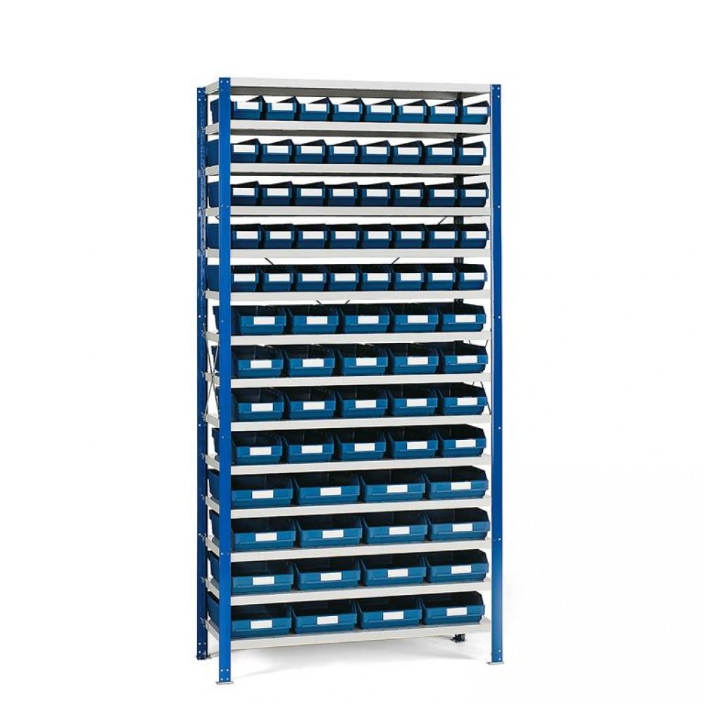 Stand cu 76 cutii de depozitare, diverse marimi, albastru, 2100x1000x500 mm