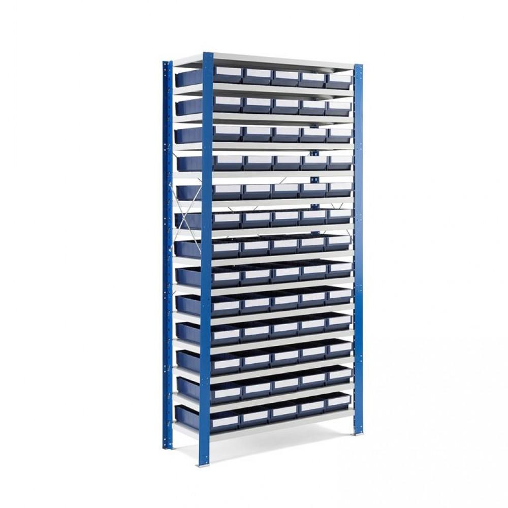 Stand cu 75 cutii de depozitare, 2100x1000x300 mm, recipient albastru