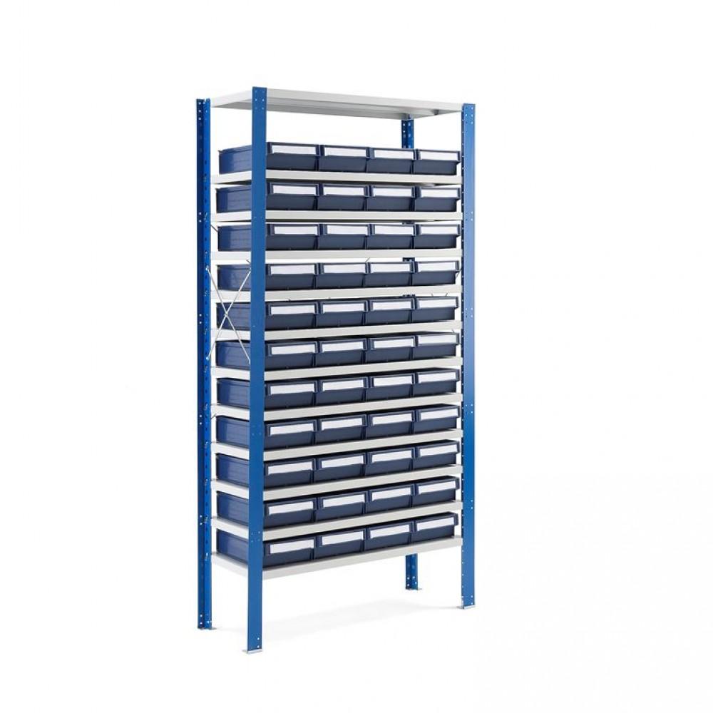 Stand rafturi cu 44 de cutii de plastic, 2100x1000x600 mm, cutii albastre