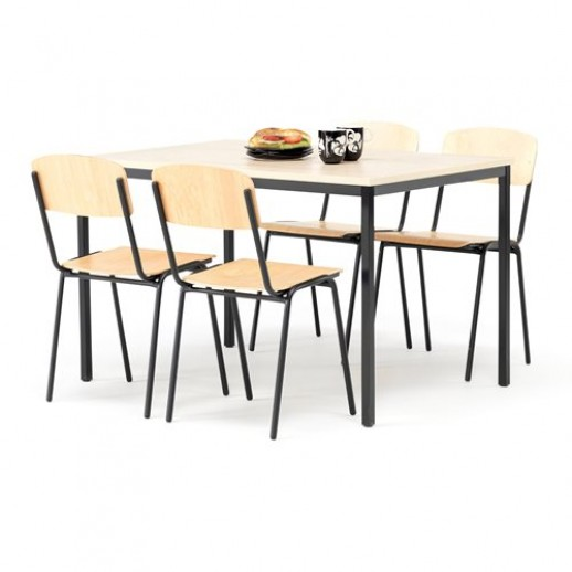 Set masa 1200x800 mm + 4 scaune, fag / negru
