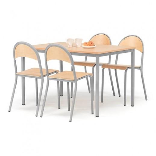 Set masa 1200x800 mm + 4 scaune, fag / gri, spatar rotunjit