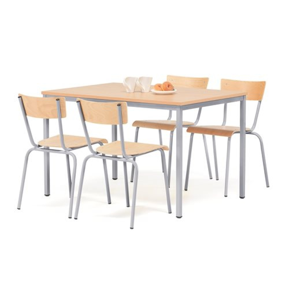 Set masa 1200x800 mm + 4 scaune, fag / gri